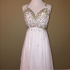 Dresses & Skirts - White Formal Beaded Halter Gown